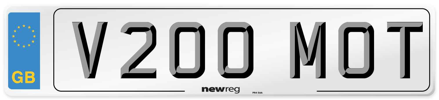 V200 MOT Number Plate from New Reg