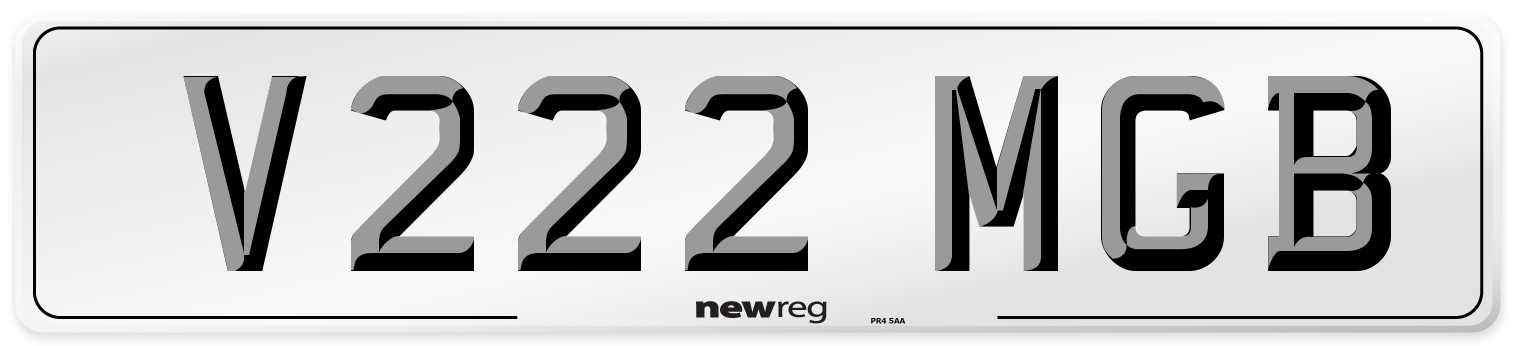 V222 MGB Number Plate from New Reg