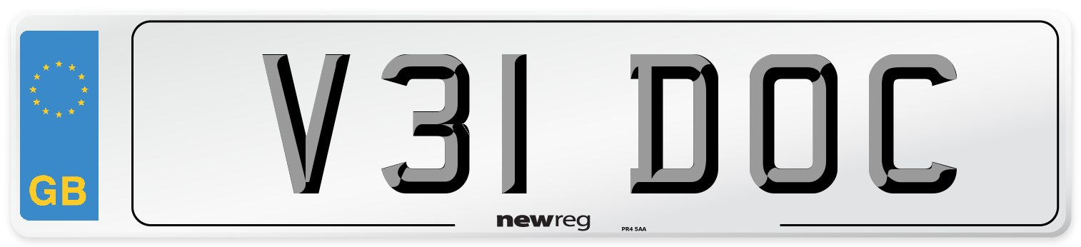 V31 DOC Number Plate from New Reg