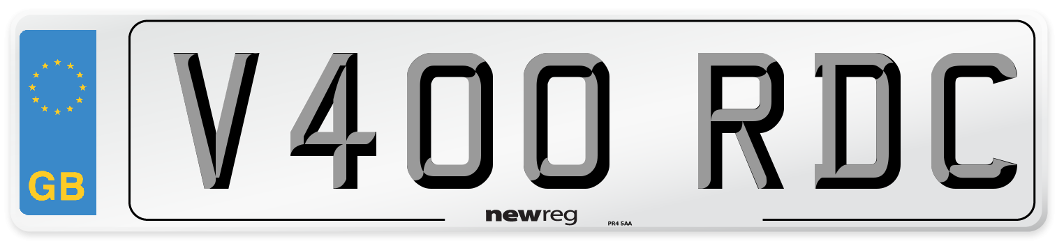 V400 RDC Number Plate from New Reg