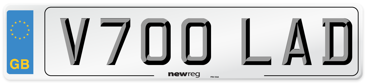 V700 LAD Number Plate from New Reg