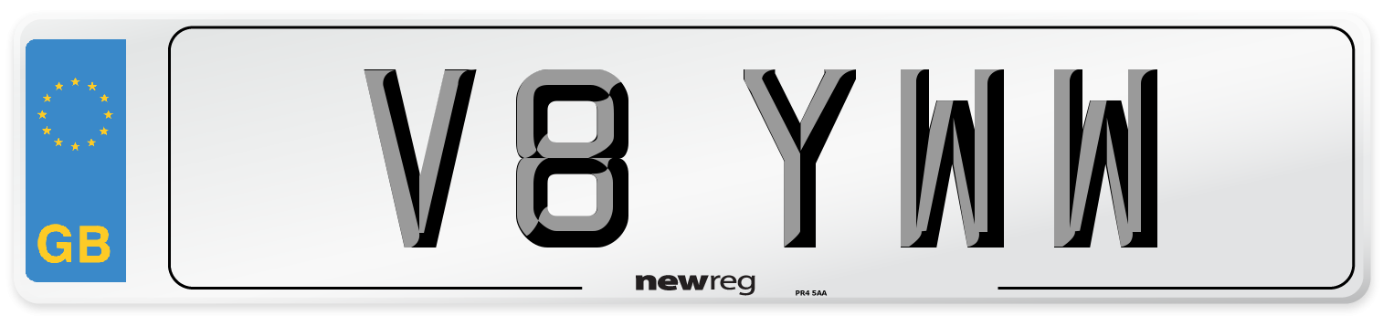 V8 YWW Number Plate from New Reg