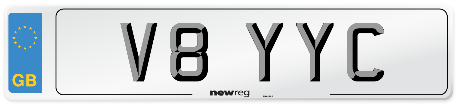 V8 YYC Number Plate from New Reg