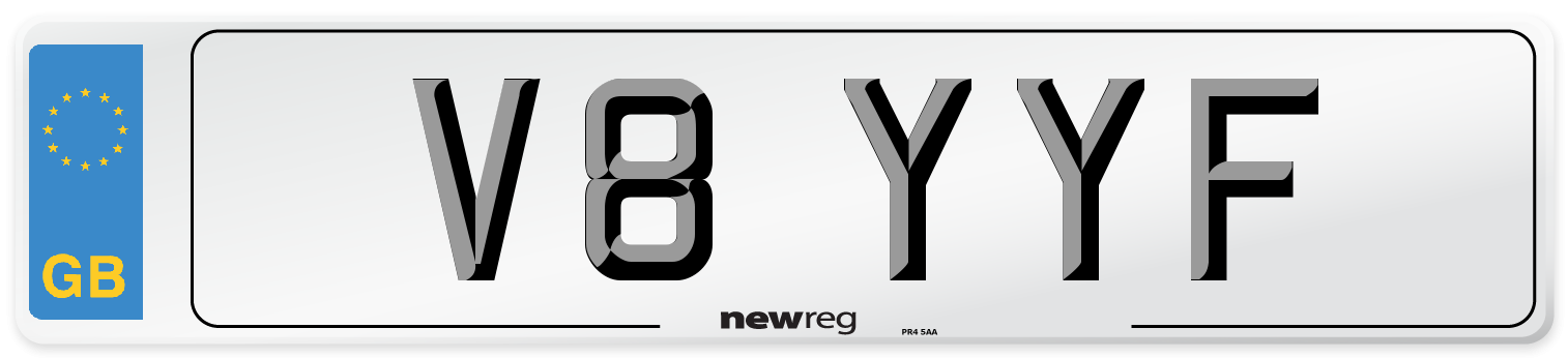 V8 YYF Number Plate from New Reg