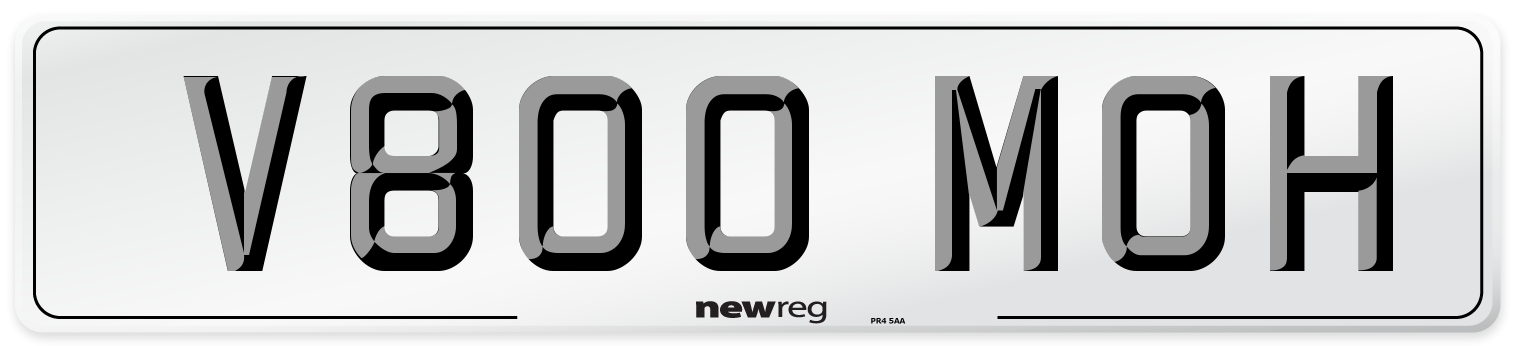 V800 MOH Number Plate from New Reg