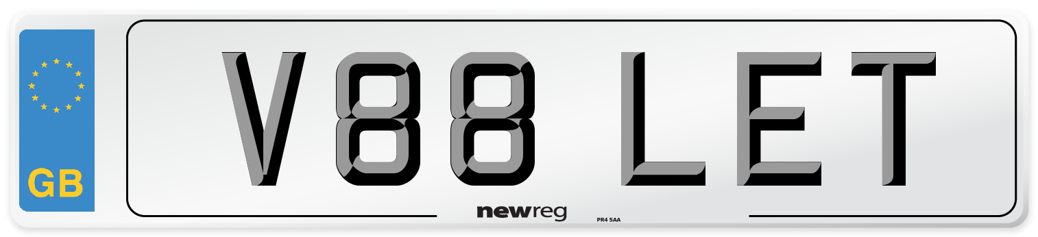 V88 LET Number Plate from New Reg