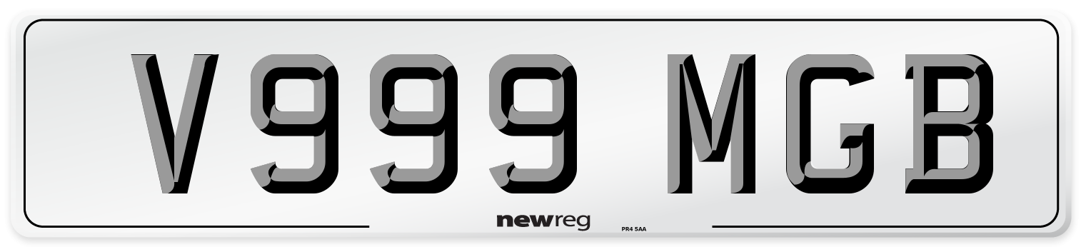 V999 MGB Number Plate from New Reg