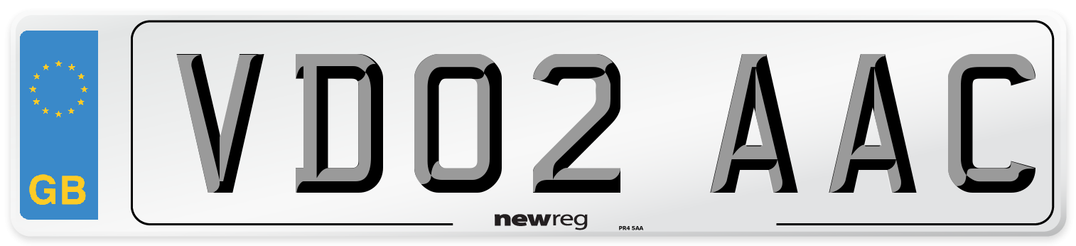 VD02 AAC Number Plate from New Reg