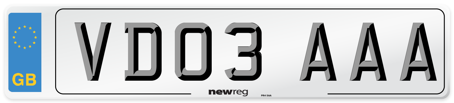 VD03 AAA Number Plate from New Reg
