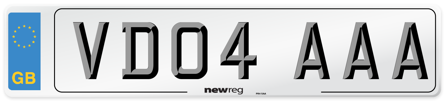 VD04 AAA Number Plate from New Reg