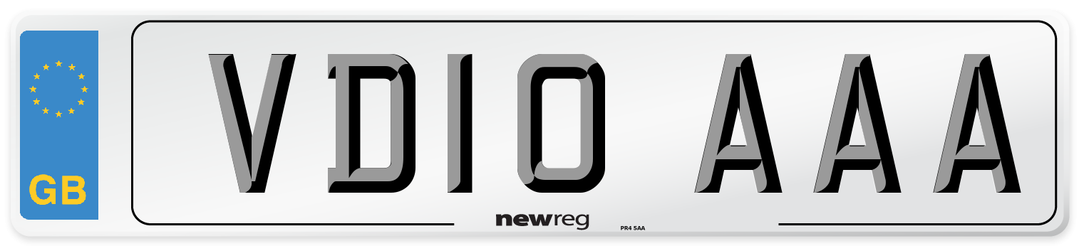 VD10 AAA Number Plate from New Reg