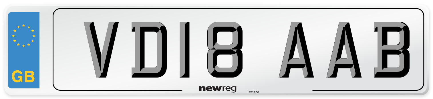 VD18 AAB Number Plate from New Reg