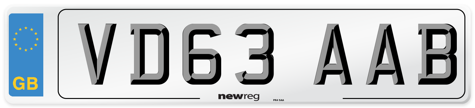 VD63 AAB Number Plate from New Reg