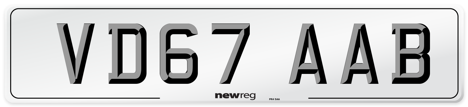 VD67 AAB Number Plate from New Reg