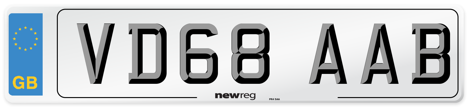 VD68 AAB Number Plate from New Reg