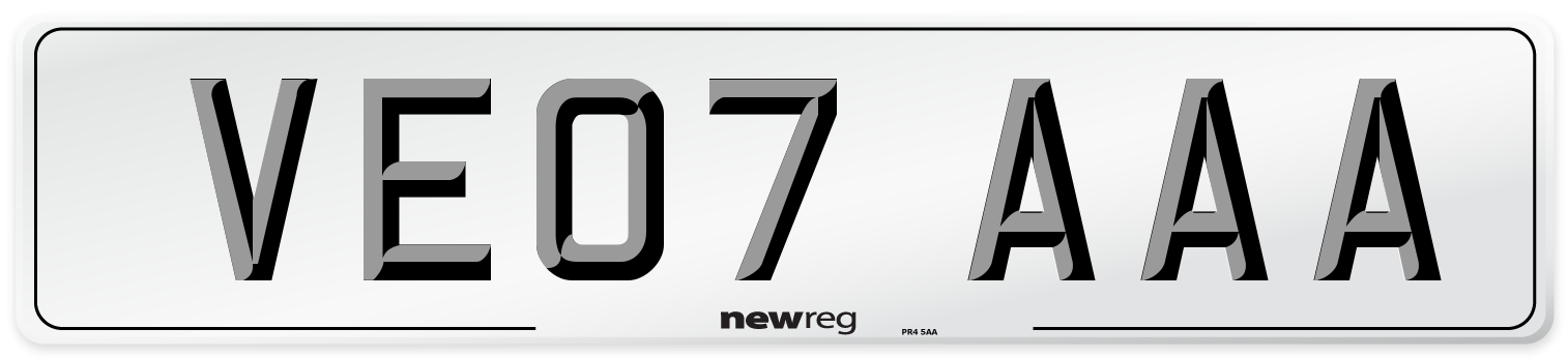 VE07 AAA Number Plate from New Reg