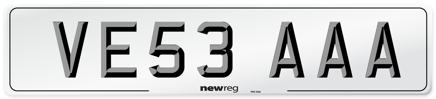 VE53 AAA Number Plate from New Reg