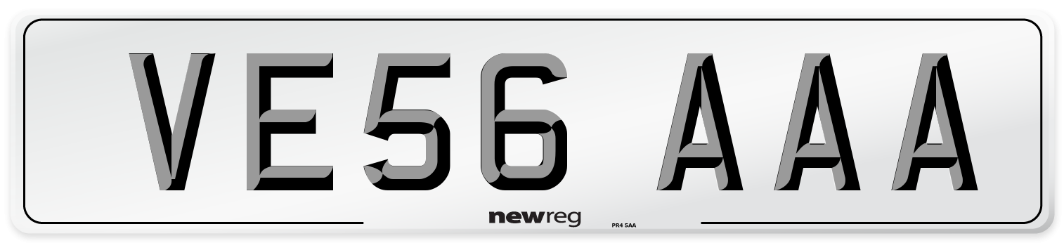 VE56 AAA Number Plate from New Reg