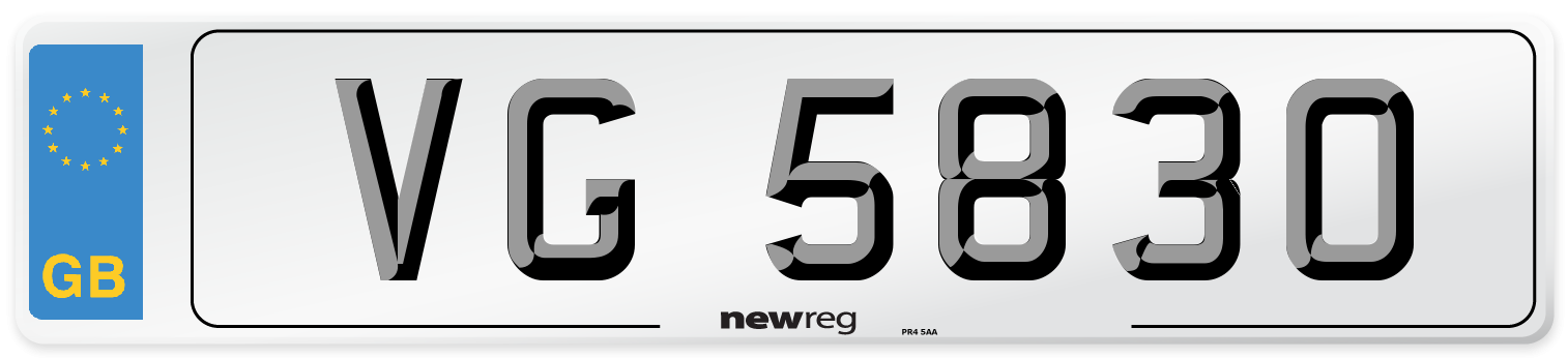 VG 5830 Number Plate from New Reg