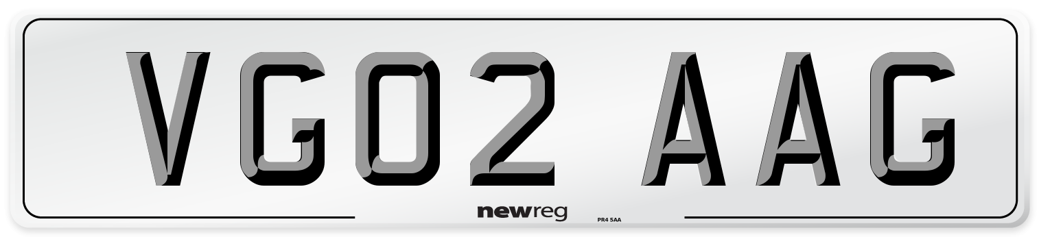 VG02 AAG Number Plate from New Reg