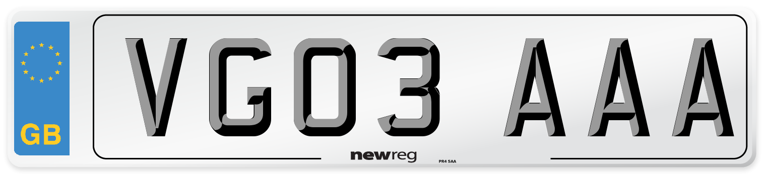 VG03 AAA Number Plate from New Reg