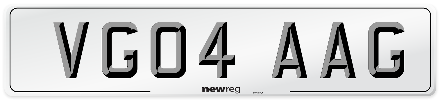 VG04 AAG Number Plate from New Reg