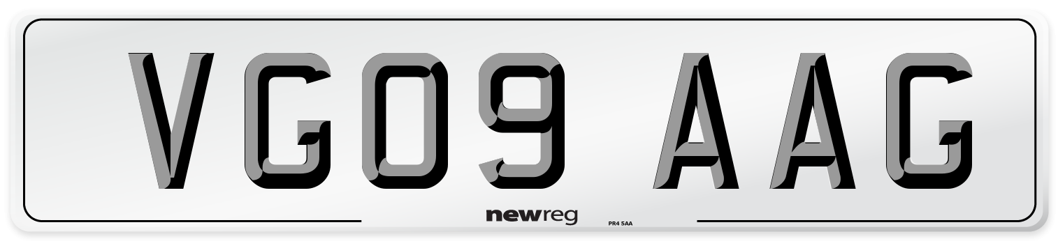 VG09 AAG Number Plate from New Reg