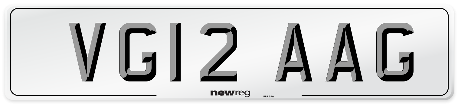 VG12 AAG Number Plate from New Reg