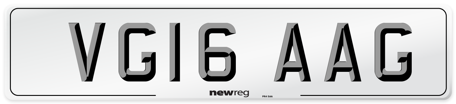 VG16 AAG Number Plate from New Reg