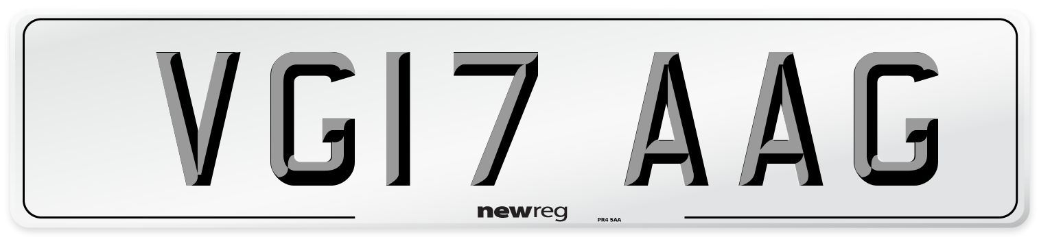 VG17 AAG Number Plate from New Reg