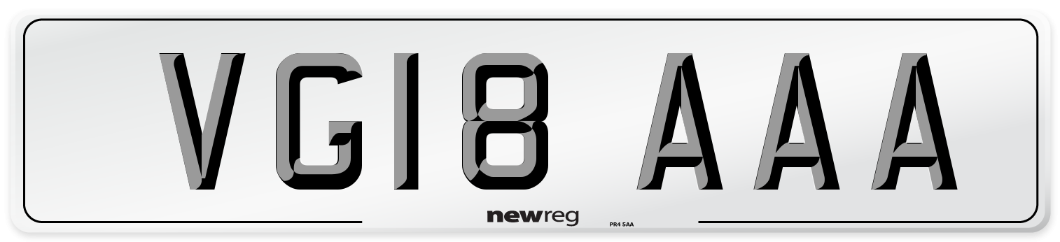 VG18 AAA Number Plate from New Reg