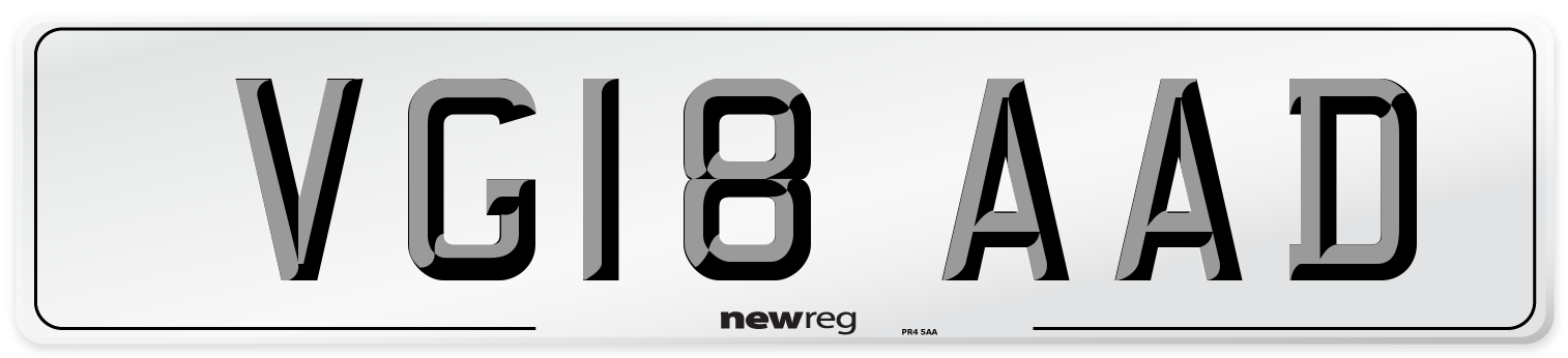 VG18 AAD Number Plate from New Reg