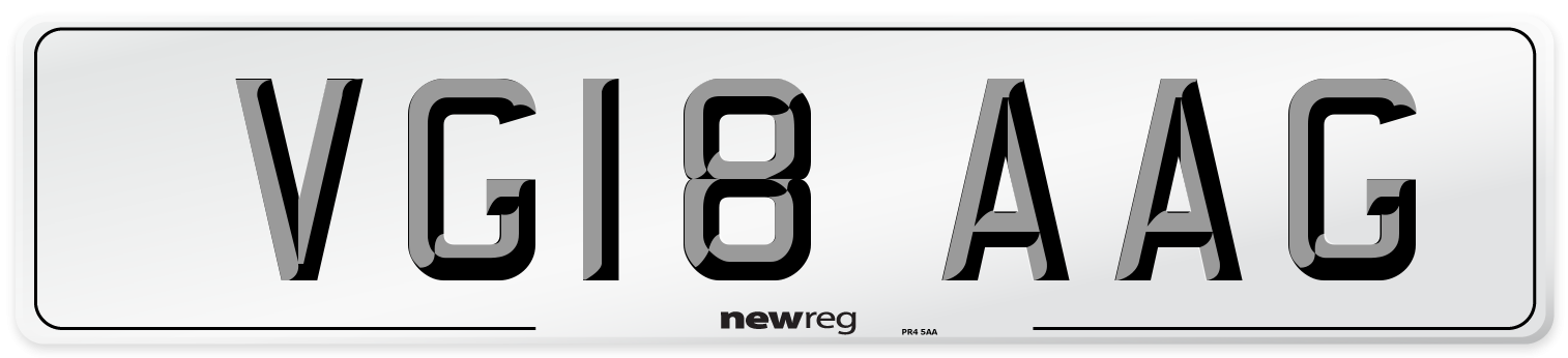 VG18 AAG Number Plate from New Reg