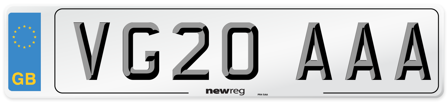VG20 AAA Number Plate from New Reg