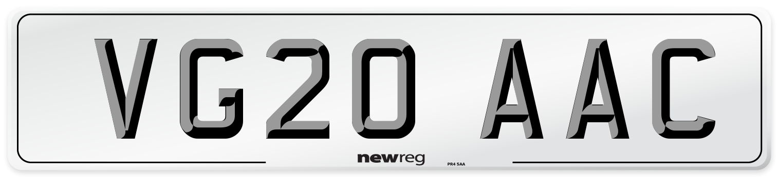 VG20 AAC Number Plate from New Reg