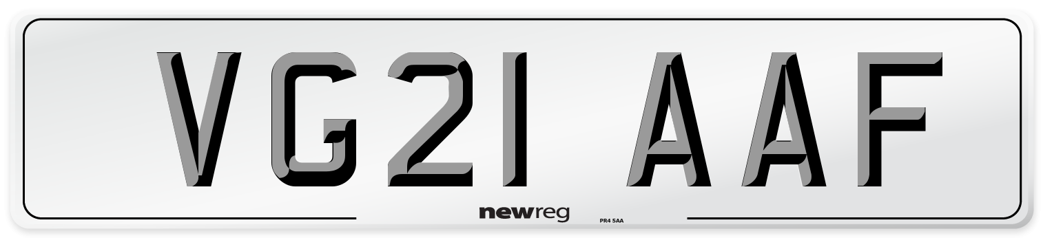 VG21 AAF Number Plate from New Reg