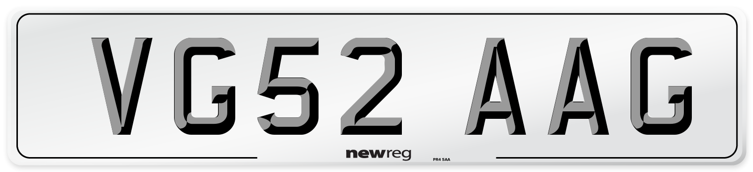 VG52 AAG Number Plate from New Reg