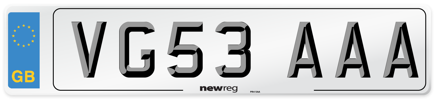 VG53 AAA Number Plate from New Reg