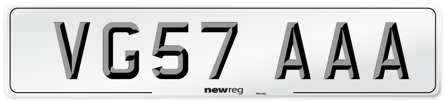 VG57 AAA Number Plate from New Reg