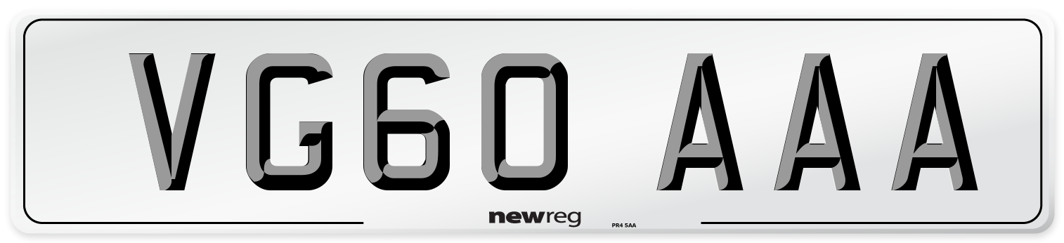 VG60 AAA Number Plate from New Reg