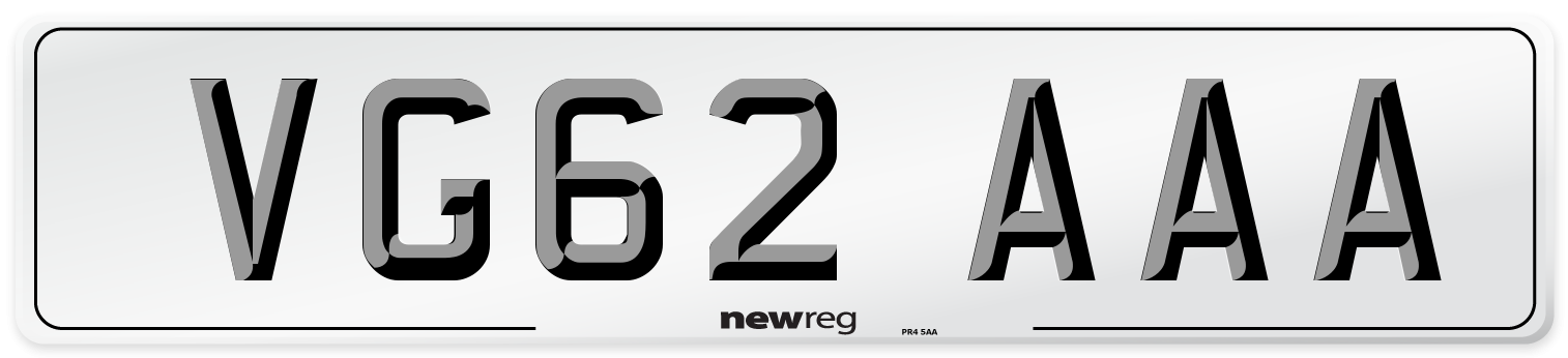 VG62 AAA Number Plate from New Reg