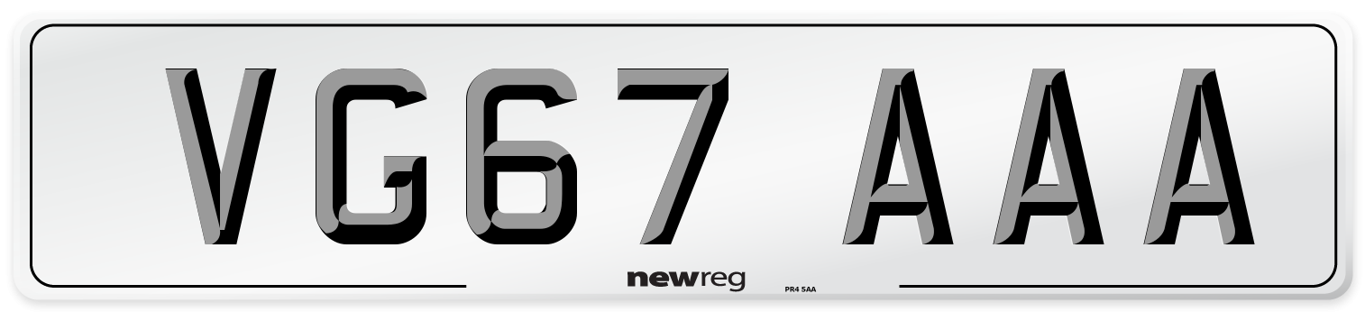 VG67 AAA Number Plate from New Reg