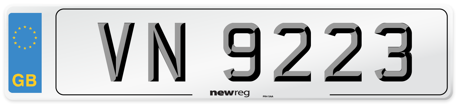 VN 9223 Number Plate from New Reg