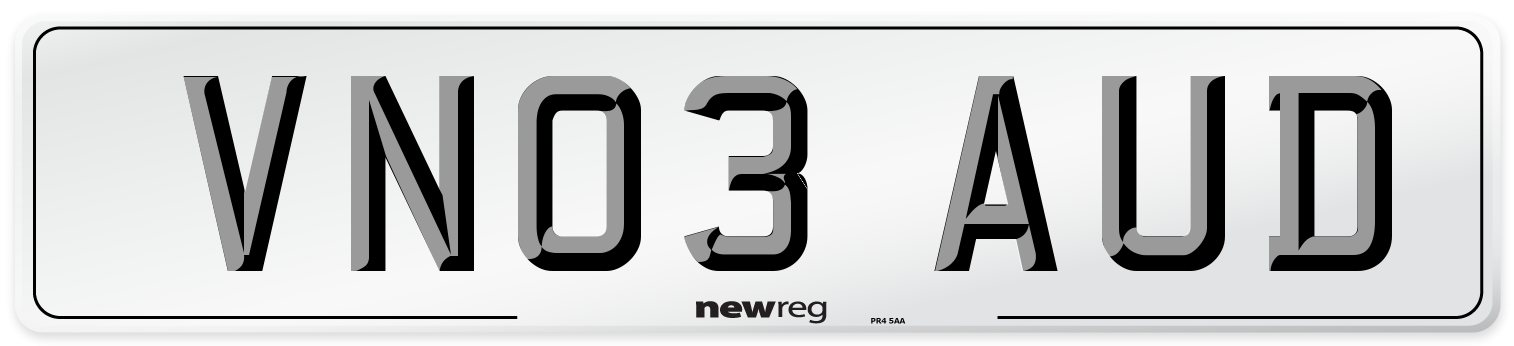 VN03 AUD Number Plate from New Reg