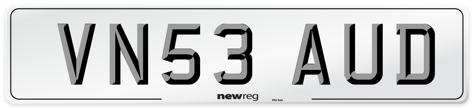 VN53 AUD Number Plate from New Reg