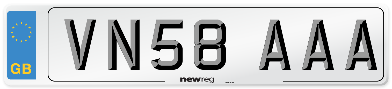 VN58 AAA Number Plate from New Reg