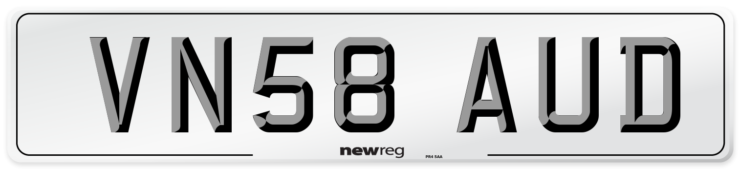 VN58 AUD Number Plate from New Reg