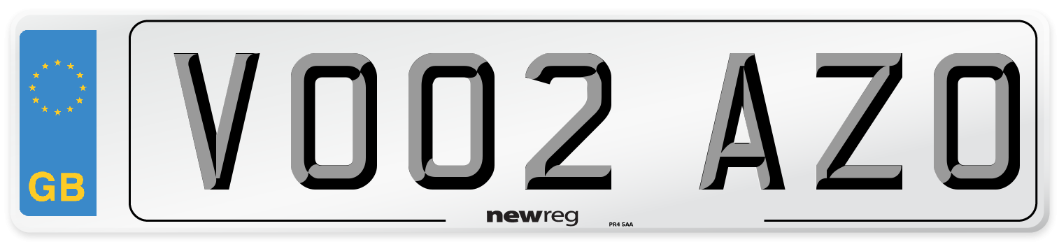 VO02 AZO Number Plate from New Reg
