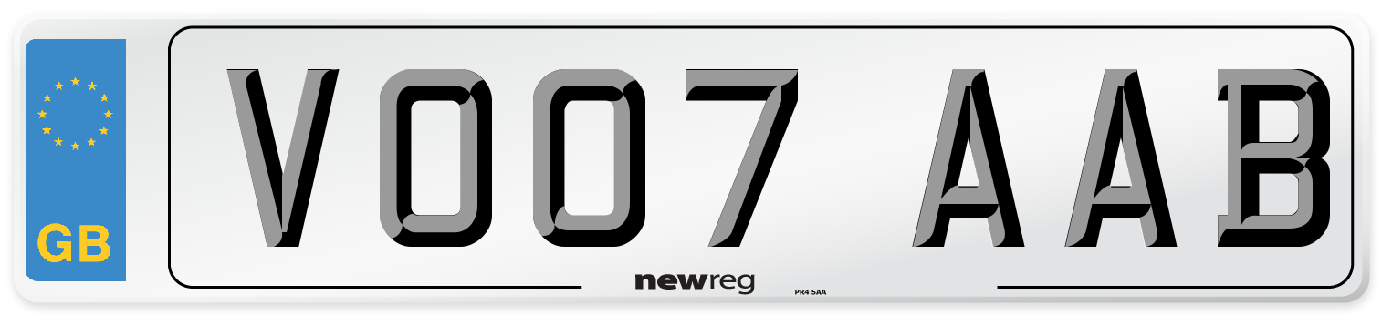 VO07 AAB Number Plate from New Reg
