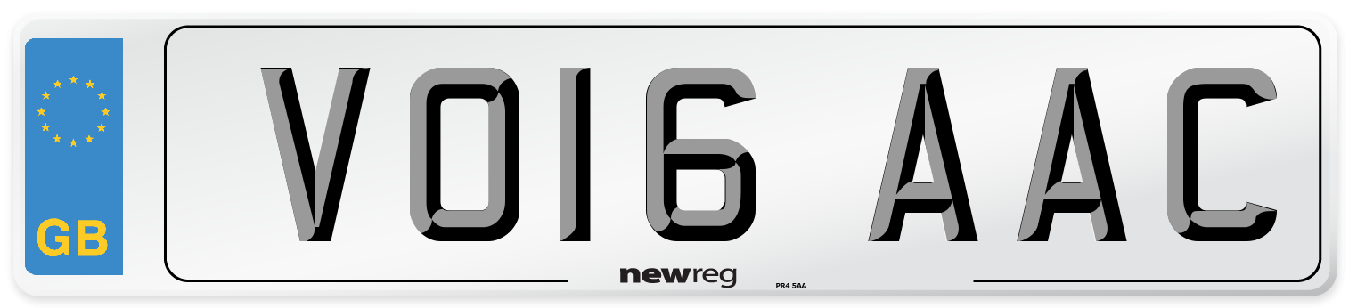 VO16 AAC Number Plate from New Reg